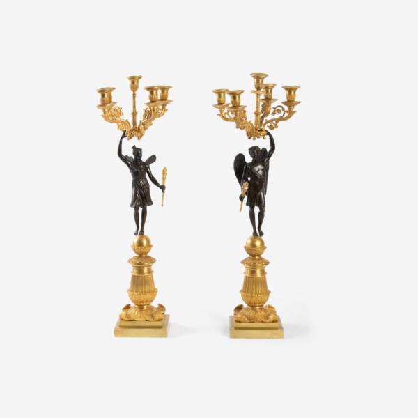 Pair of Gilt Bronze Candelabra. Circa 1830