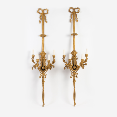 Large Pair of Louis XVI Style Ormelu Sconces.
